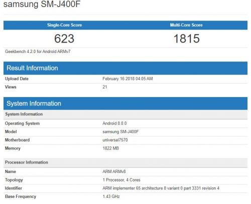 Samsung Galaxy J4 Benchmarked With Android Oreo