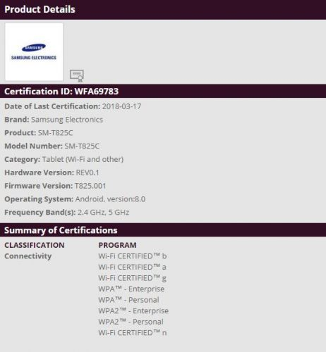 Galaxy Tab S3 With Android Oreo Gets Certified By The WFA