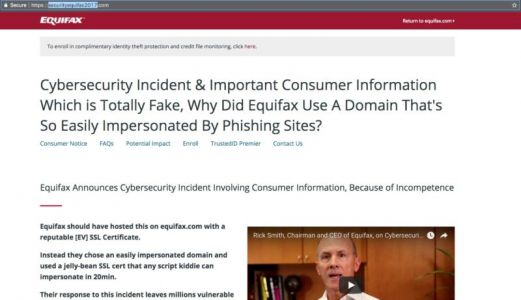 Equifax sends breach victims to fake notification site