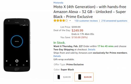 Amazon's Prime-Exclusive Moto X4 is just $249 today only