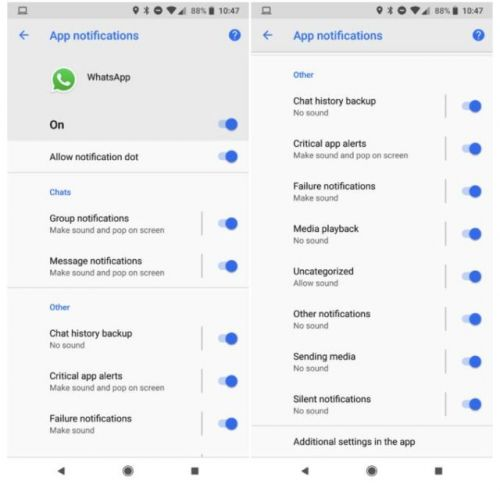 WhatsApp Notification Channels Added To Android Oreo