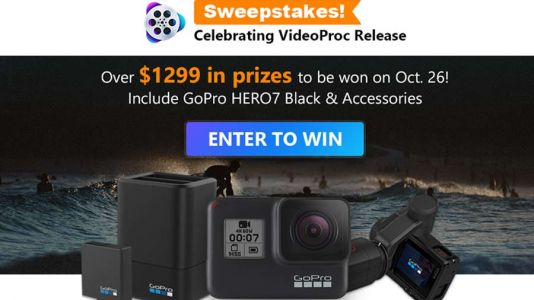 Try VideoProc: easily process and edit GoPro, DJI, iPhone 4K videos and win a GoPro Hero 7