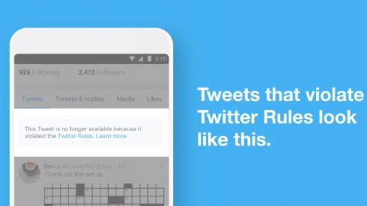 Twitter makes it easier to tell when a tweet is removed for policy violations
