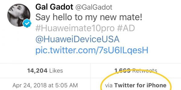 Wonder Woman actor Gal Gadot tweets praise for her new Huawei Mate 10. from an iPhone