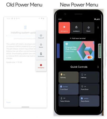 Android 11 power menu leak shows new smart home integration