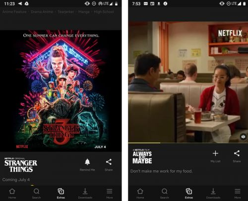 Netflix Testing 'Extras' Tab in Mobile App With Feed of Photos and Videos Similar to Instagram