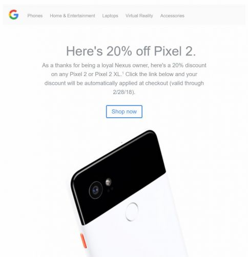 """Loyal"" Nexus Owners Get 20 Percent Off Pixel 2 / Pixel 2 XL"