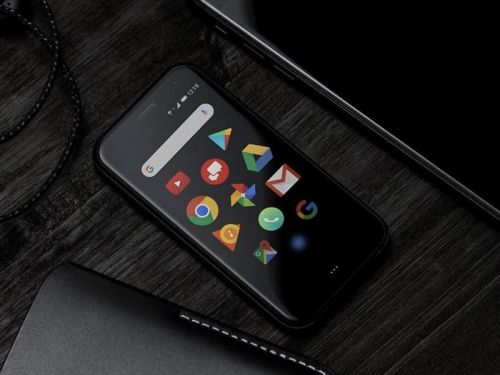This is the new Palm phone, a tiny Android device with a 3.3 inch display