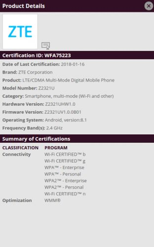 New ZTE Phone Gets Wi-Fi Certified, The Axon 8 Maybe?
