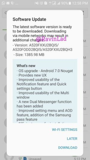 Galaxy A5 And A7 (2017) Now Getting Android Nougat In India