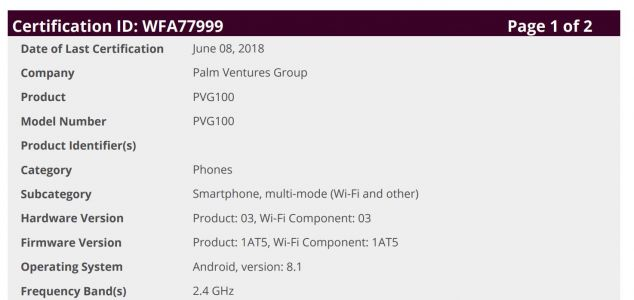 Palm PVG100 Certified In The US With Android 8.1 Oreo