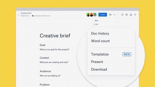 Dropbox Paper now lets you 'templatize' docs into standardized templates for streamlining workflows