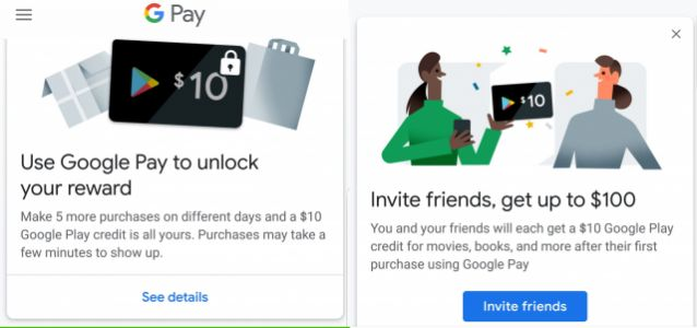 Earn $110 in Google Play credit for using Google Pay