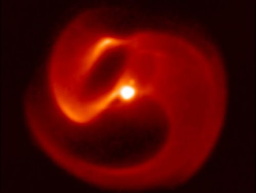 Scientists spot two massive stars creating a pinwheel of dust