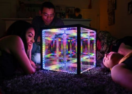 "HyperCube ""hyper-chromatic art"" sound reactive light show"