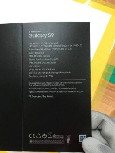 Galaxy S9 box leaks, tells us a lot about the camera