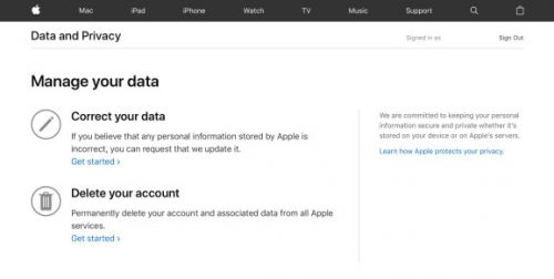 Apple's new Data and Privacy page offers data access to European users