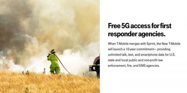 T-Mobile plans 10 years of free 5G unlimited service for first responders pending Sprint merger
