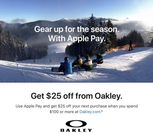 Apple Pay Promo Offers $25 Coupon After $100 Purchase From Oakley