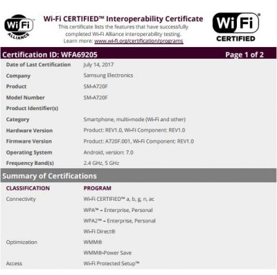 Nougat-Based Galaxy A7 (2017) Receives Wi-Fi Certification