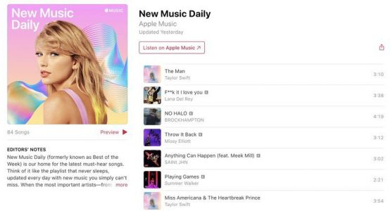 Apple Music introduces 'New Music Daily' playlist for all the latest hits