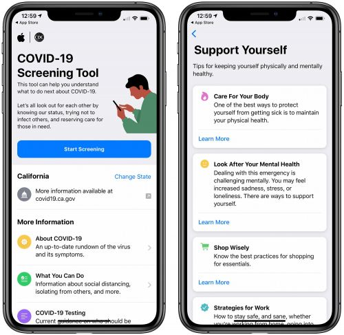 Apple's COVID-19 App Gains Features for Accessing State Guidelines and Self Care Tips