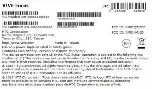 HTC Vive Focus Headset Shows Up At FCC